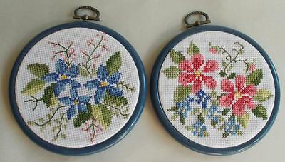 Swedish cross-stitched, round framed pictures, pink and blue flowers, 2 diff.