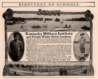 1906 Ad  Kentucky Military Inst Florida Winter Naval Indian River Eau Gallie