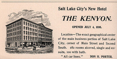 1899 Ad The Kenyon Hotel Salt Lake City Main And Second South