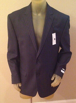 NWT $260 Collection by Michael Strahan Navy Stripe Suit Jacket Mens 46 Long