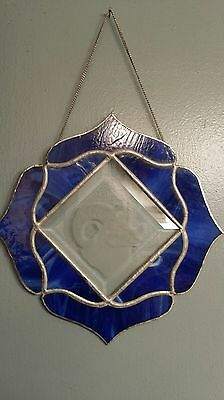 Vintage Leaded Stain Glass Hanging Sun Catcher with frosted glass in center