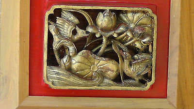ANTIQUE 19c CHINESE WOOD CARVED PIERCED GILT PLAQUE WITH 2 DUCKS&LILY FLOWERS