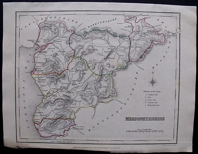 1845 ANTIQUE MAP: Merionethshire County, Wales UK, England Handcolored Engraving