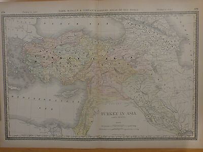 1882 Rand McNally two page map of Turkey in Asia--Asia Minor, Syria, Iraq