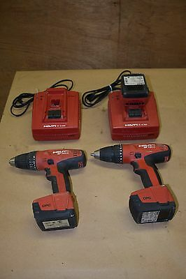 2 Hilti SF 144-A Drill/Driver 14.4V Li-ion Batteries & Two C 4/36 Charge Ports