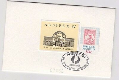 Stamp Australia AUSIPEX Exhibition Buildings 1984 sample proof card postmarked