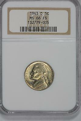 1943-D Jefferson 5C Nickel Ngc Ms66Fs Full Steps