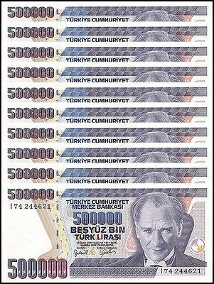 Turkey 500,000 (500000) Lira X 10 Pieces (PCS),1970 (1998), P-212, UNC, Prefix-I