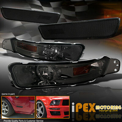 2005-2009 Ford Mustang ( FRONT+REAR ) Bumper Signals Side Markers Light Smoke