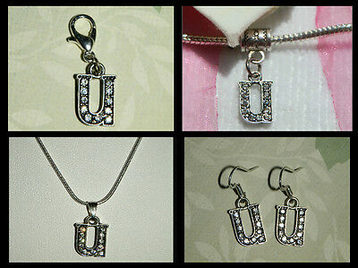 Black Silver Clear Crystal Initial Alphabet Letter U Charm Jewellery Collection
