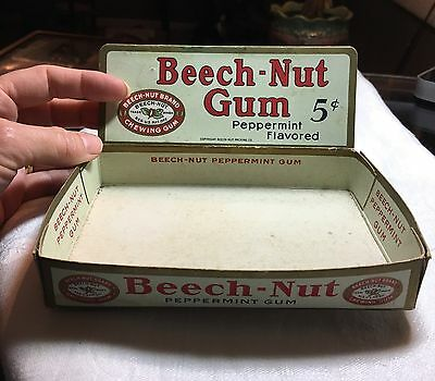 1935 BEECH-NUT CHEWING GUM COUNTERTOP DISPLAY BOX / PRODUCT PACKAGE w/ SIGN