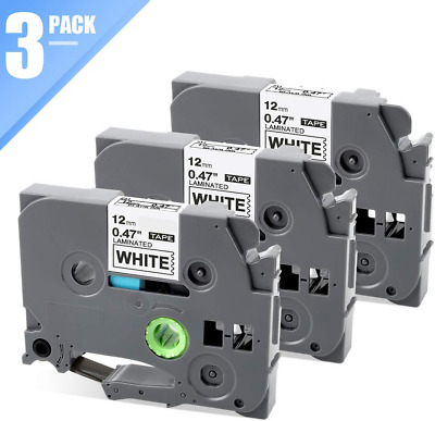 """3PK Black on White Label Tape TZ231 TZe231 12mm (1/2"""") 8m for Brother P-Touch"""