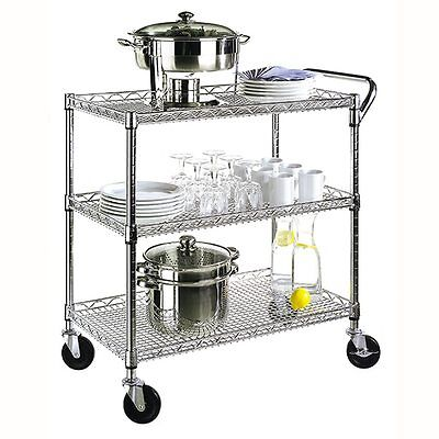 Commerical Kitchen Utility Cart NSF Zinc Wire Shelving Rolling 500lb. Office NEW