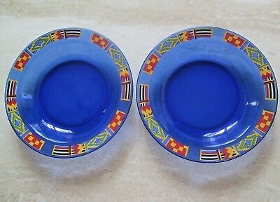 Avon*2*kente Inspired Majestic Cobalt Blue Soup Plates*used*1993*small Scratchs