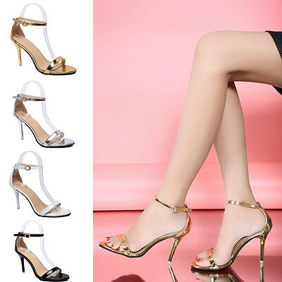 Womens High Heels Stiletto Buckle Strap Gladiator Sandals Peep Toe Large Size