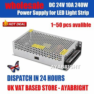 50PCS DC 24V 10A 240W Universal Regulated Switching Power Supply LED Strip CCTV
