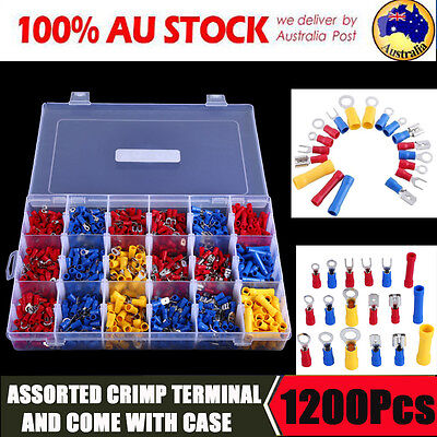 1200PCS Insulated Crimp Terminals Electrical Wire Connector Spade Assorted Set