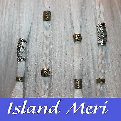 8 x Mixed Dreadlock Hair Beads, Cuffs, Clips for Braids, Hair Extensions, Plaits