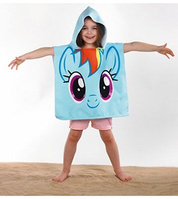 GIRLS MY LITTLE PONY RAINBOW UNICORN HOODED PONCHO BEACH BATH TOWEL AGES 3 - 6yo