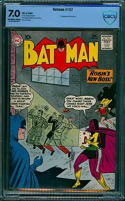 Batman # 137  Robin's New Boss, Mr. Marvel  !  CBCS 7.0 scarce book !