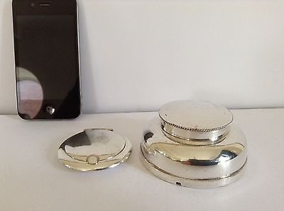 Antique Silver Plate Compact and Pill Box