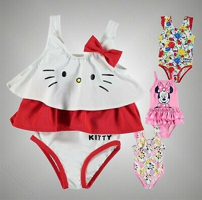 Baby Girl Branded Character 2 Layers Of Frills Swim Suit Swimwear Size 0-24 Mnth