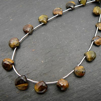 "Tiger Eye Faceted Heart Briolette Beads 8"" Strand Semi Precious Gemstone"