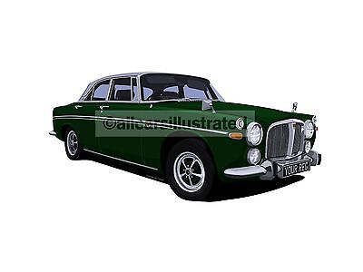 Rover P5B Coupe Car Art Print (Size A3). Personalise It!