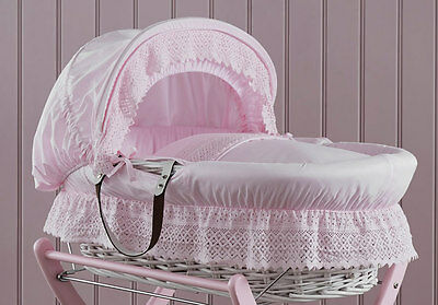 Brand new in box Izziwotnot royal lace white wicker moses basket in pretty pink