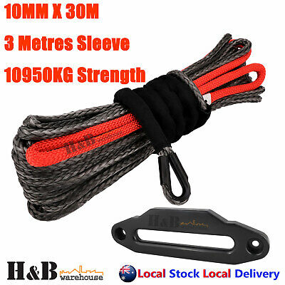 Dyneema Winch Rope 10MM x 30M 254mm Fairlead Synthetic Cable 4WD Tow BLK C0106