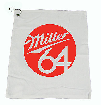 "100 - MILLER 64 Beer Bar Golf Fishing Hand COTTON WHITE Towel 15""X18"" NEW"