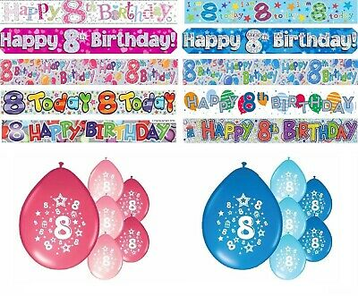 Age 8 Birthday Banners Party Decorations Pink Blue Multi