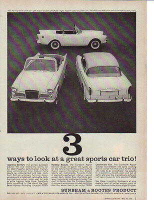 1960 Sunbeam Three Great Sports Cars Vintage Car Ad