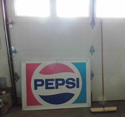 Vintage Pepsi Cola BIG Metal Sign Embossed country store 1984 Stout Industries