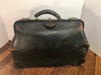 Antique Black Cow Hide Doctors Bag~ Large~ Great Wear & Awesome Look!!