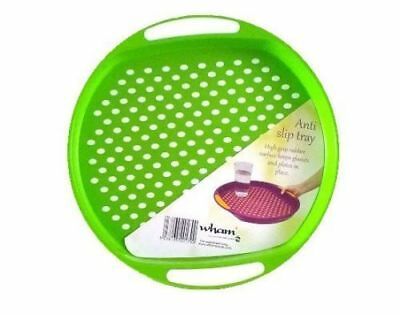 GREEN WHAM Anti Slip Plastic Serving Tray Rectangle High Grip Rubber Surface