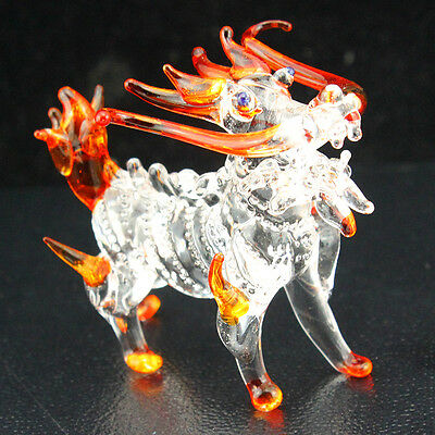 2.3 inches Lion Dragon Figurine Animal hand made Blown Glass Crystal / R1015