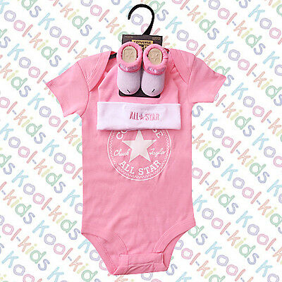 Converse Baby Girls Vest, Hat & Booties On A Presentation Hanger - 0-6 Months -