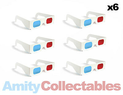 6 x 3D GLASSES RED/BLUE (CYAN) ANAGLYPH Retro for 3D, WHITE, Cardboard, 80s