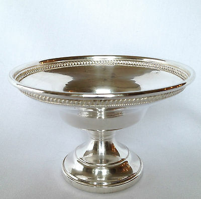 "Sterling Silver SMALL 4"" PEDESTAL COMPOTE DISH BOWL Pretty Beaded Gadroon Edge"