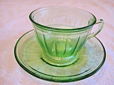 Green Depression Glass Colonial Fluted Rope by Federal Glass Cup & Saucer GUC