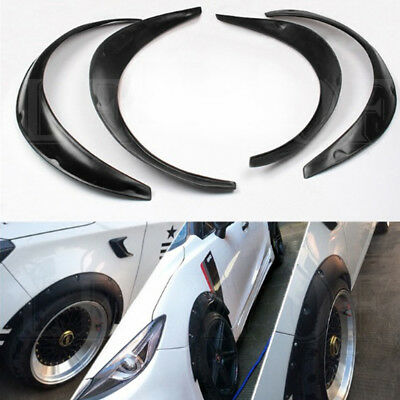 4pcs Universal Fender Flares Flexible Fender Durable Polyurethane For Car Black