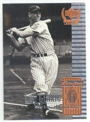1999 Upper Deck Century Legends Baseball Top 50 Players Lou Gehrig #6