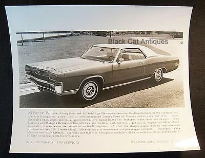 """Early Release 1968/69 Ford Of Canada B & W Glossy Commercial Photo - """"Marquis"""""""
