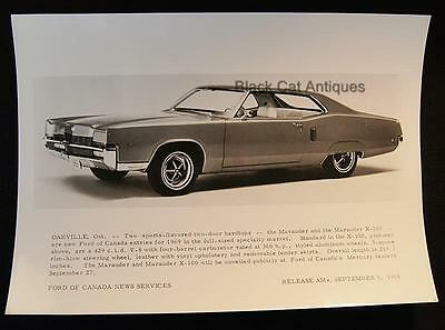 Early Release 1968/69 Ford Of Canada B & W Glossy Commercial Photo Ford Marauder