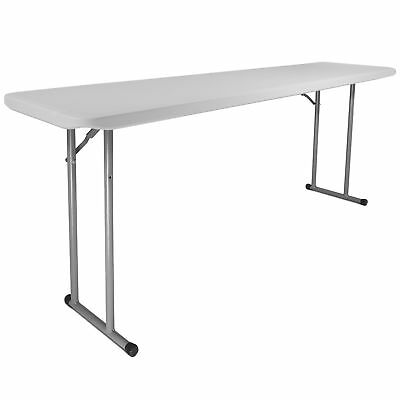"Titan 18""x72"" Plastic Seminar Table Speckled White Solid w/ Folding Legs Indoor"