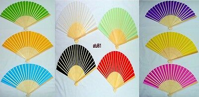 Chinese Folding Bamboo&wooden Fan Retro Hand Held Paper Fans Wedding Party NEW