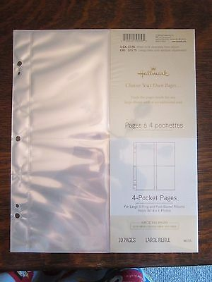 Hallmark AR17254 pocket photo album refill pages 3 ring or post bound 20 pages