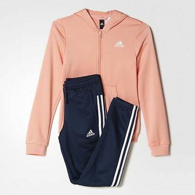 New Adidas Girls YG Hooded PES TS Sweatshirt Tracksuit  Pink / Navy  Junior