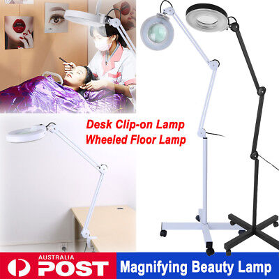 5X For Beauty Nail Salon SPA Rolling Floor/ Desk Clamp Magnifier LED Lamp Light